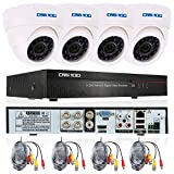 OWSOO CCTV Überwachung DVR Security System 4CH Kanal  960H/D1 800TVL HDMI P2P Cloud Network Digital Video Recorder + 4 * Indoor Infrarot-Dome-Kamera + 4 * 60ft Kabel