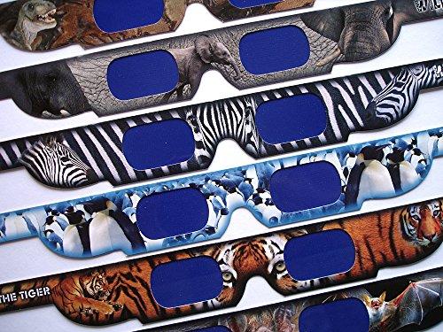 Holo-Effekt! 12x HoloSpex 3D Brille aus Pappe: Fledermaus, Schmetterling, Krokodil, Delfin, Elefant, Giraffe, Pinguin, Affe, Hai, T-Rex (Dinosaurier), Tiger, Zebra / 12 verschiedene Tier-Motive (Fledermaus Brille)
