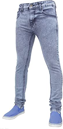 True Face Mens Jeans Skinny Denim Pants Stretch Fit Trouser Zip Fly Elasticated Cotton Bottoms Casual Wear 5 Pockets All Waist & Leg Sizes in Blue, Grey White, Black