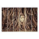 Bilderwelten Schiebegardinen Buddha in Ayutthaya - Wandhalterung 6X 250x60cm