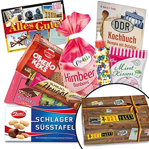Süßes Geschenkset für DDR-Entdecker - Viba Nougat Stange, Puffreis Schokolade, Liebesperlenfläschchen, uvm. +++ Kultige DDR-Traditionsprodukte in einzigartiger Aufmachung mit Ostmotiven +++ INKLUSIVE Grußkarte