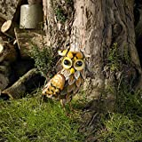 garden mile Colourful Standing Owl Metal Garden Animal Ornaments Lawn Statues Sculptures, Stunning Versatile Realistic Farm Animals Home Decor Garden Ornaments Garden Landscaping Decoration (Owl)