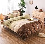 HTST Einfache Gestreiften bettwäsche Polyester Schlafzimmer flachblech Nicht verblassen Bettbezüge Geschenk 3 stücke, 003, 200x230cm