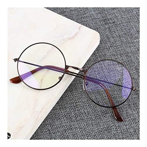 XSHY Vintage Runde Metallrahmen Persönlichkeit College-Stil Klare Linse Brillen Rahmen Blaulicht-Augenschutz Handy-Spiel (Frame Color : Gu Tong LAN mo)