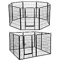 Yaheetech Welpenlaufstall Welpenfreigehege Tierlaufstall Laufstall Zaun Gitter mit Tür, 8 eckig, je Panel 80 x 100 cm