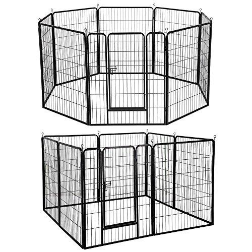Yaheetech Welpenlaufstall 8 eckig Welpenfreigehege Tierlaufstall Laufstall Zaun Gitter mit Tür je Panel 80 x 100 cm
