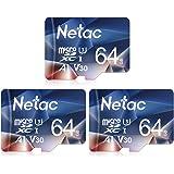 Netac 64G Scheda Micro SD Set da 3, Scheda di Memoria A1, U3, C10, V30, 4K, 667X, UHS-I velocità Fin...