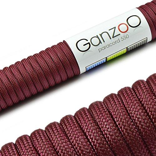 Paracord 550 Seil Wein-Rot | Bordeaux | 31 Meter Nylon-Seil mit 7 Kern-Stränge | für Armband | Knüpfen von Hunde-Leine oder Hunde-Halsband zum selber machen | Seil mit 4mm Stärke | Mehrzweck-Seil | Survival-Seil | Parachute Cord belastbar bis 250kg (550lbs) - Marke Ganzoo