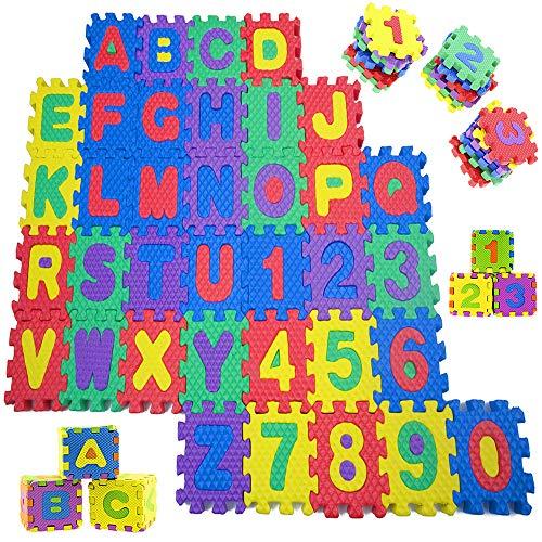 Sosila Puzzlematte, 86 TLG. Kinderspielteppich, Puzzleteppich mit Buchstaben und Zahlen, Spielmatte Spielteppich Kinderteppich Lernteppich, Puzzlematte für Babys und Kinder (Buchstaben&Zahlen)