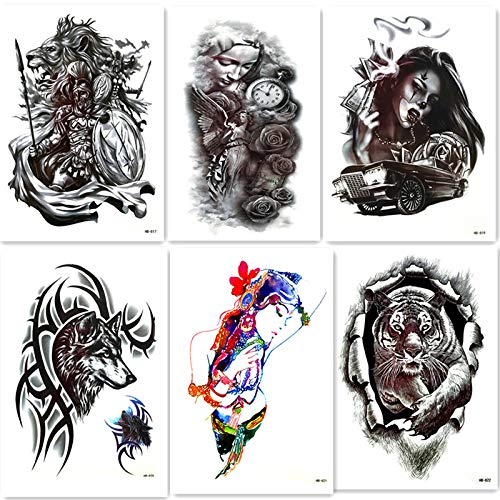 lijinjin Löwe Wolf Schönheit Temporäre Tattoos Aufkleber Totem Tattoos Flash Tattoo Paste Make-Up Girl Tattoo Wasser Transferpapier ()
