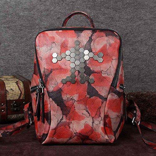 In pelle scamosciata borsa a tracolla in pelle a mano ladies vintage raddoppia zainetto donna casual pelle versatile borsa donna ,Black-Red