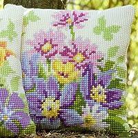 Vervaco Cojín de punto de cruz (diseño de flores en color pastel, tela pintada a mano para facilitar el bordado)