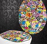 StickerProfis WC Sitz Aufkleber STICKER Design Folie Dekor für Toilettendeckel Klodeckel incl. 2 Fliesenaufkleber