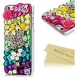 Mavis's Diary® Funda iPhone 6 Plus (5,5 pulgadas) Diseño de Mariposa y Flores con colgante de perla- 3D Bling Diamantes Funda Duro Protección Transparente PC Case Cover Cáscara
