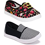 WORLD WEAR FOOTWEAR Women Multicolour Latest Collection Sneakers Shoes- Pack of 2 (Combo-(2)-11022-611)