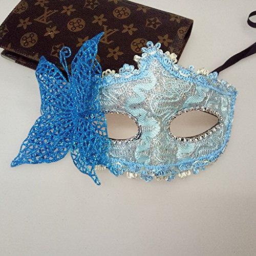 MwaaZ Produkte mit hoher Qualität See-Blaue Schmetterlings-Maske Venetianische Prinzessin Half-Face-Maske für Cosplay Partei-Maskerade