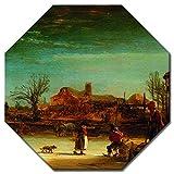 Bilderdepot24 Kunstdruck - Alte Meister - Rembrandt - Winterlandschaft - Achteck 60x60 cm - Leinwandbilder - Bilder als Leinwanddruck - Bild auf Leinwand - Wandbild