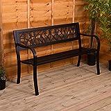 Gartenbank aus Stahl, Tulpen Design 3 Sitzer Außenbereich Möbel Möbelstück Sitzmöglichkeiten Park Innenhof Terrasse Sitz von Garden Vida