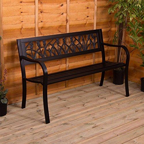 Gartenbank aus Stahl, Tulpen Design 3 Sitzer Außenbereich Möbel Möbelstück Sitzmöglichkeiten...