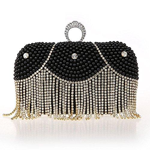 FZHLY Damen Hand Bankett Tasche Perle Quaste Abendtasche Black