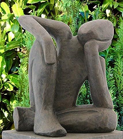 Steinfigur Träumer in Dunkelbraun, abstrakte Deko-Figur für Haus und Garten,
