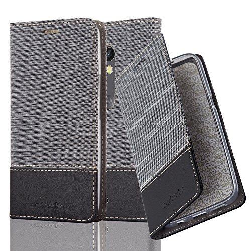 Cadorabo Hülle für Motorola Moto X Play - Hülle in GRAU SCHWARZ – Handyhülle mit Standfunktion und Kartenfach im Stoff Design - Case Cover Schutzhülle Etui Tasche Book