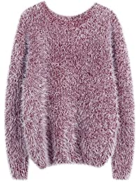 899ad41704de90 Fuxiang Pullover Mohair Winterpulli Damen Frauen Warme Pullis Rundhals  Longpullover Oversize Schöne Kuschelpullover Mantel…