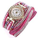 Ouneed® Uhren, Damen Luxus Marken Designer Damen Uhr Frauen-Perlen-Skala Armband Quarz Armbanduhr Kristall Diamant Uhr Frauen Kleid Uhr (Hot pink)