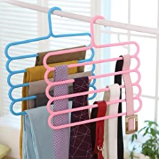 5 Layer Plastic Colourful Pants Scarf Trousers Clothes Towels Hanger/Holder (Multicolour, 5 Layer-2) - Pack of 2