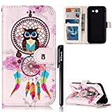 BtDuck Leather Case for Samsung Galaxy J3 2017 Embossed Dreamcatcher Feather Wind chimes Chinese Style ( Owl Grandfather ) Stand Painted pattern Phone Protector PU Leather Flip Folio Cover Anti-slip Skin Outdoor Protection Simple Strict Shockproof Heavy Duty Robust Bumper Case Shell with Stander Oyster Card ( Travel Card Bus Pass)Holder Slots Pocket Kickstand Function Magnetic Closure + 1 * Black Stylus Pen Black Look Up Put down the phone