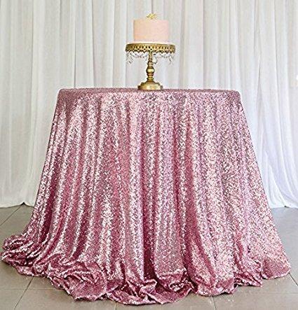 ShinyBeauty 330cm Pailletten runden Tischdecken Leinen Tischdecken-Rosa Golde Tabelle Tuch Glitter (Glitter Leinen Tischdecke)