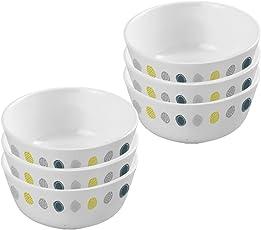 Servewell Dot Art Melamine Veg Bowl Set, 10.5cm, Set of 6, White