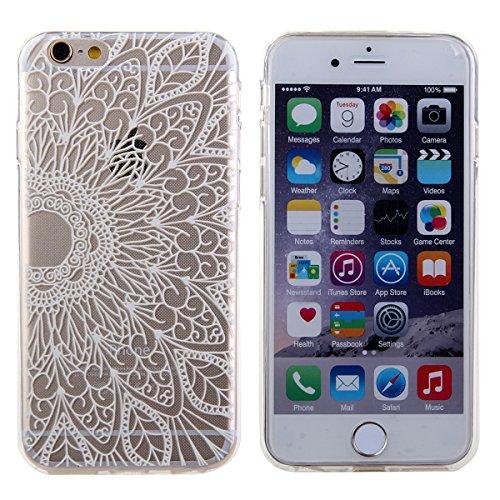 Coque pour iPhone 6s, Ultra Mince Coque de Protection en Silicone et TPU pour iPhone 6s, iPhone 6s Coque Etui Silicone Housse, iPhone 6 Coque Etui Silicone Housse, iPhone 6s Silicone Case Cover, Ukayf Demi-fleur de paon