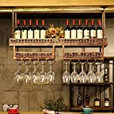 ZHANGLIXIANG HJJ Weinregal Weinregal Hängende Weinglashalter Hängende Rotweinschale Doppel Hängende Getränkehalter Weinregal Bartisch Wein Becherhalter (Farbe : Rotes Kupfer, größe : 100 * 31 * 31cm)