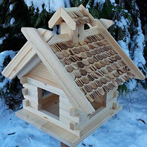 Großes XXL Vogelhaus Schreinerarbeit Futterhaus Vogelhäuschen -- Wetterschutz lasiert -- Blockhaus Holz Vogelhäuser (Natur)