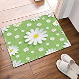 Nyngei Papier peint floral blanc 3D fleur Chamomile tapis de bain antidérapant étage portes d'entrée en plein air intérieur porte avant tapis 60X40CM tapis de bain tapis de bain