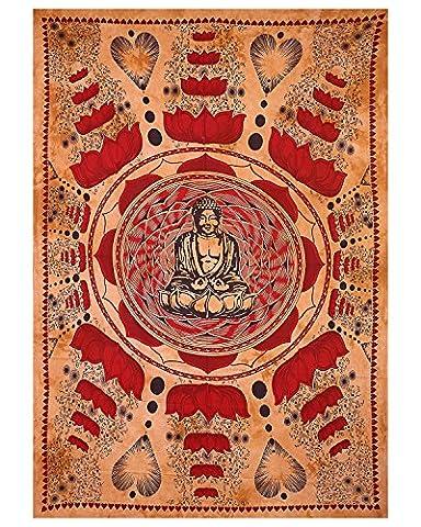 Méditation Bouddha Tapisserie Taille jumelle Table Runner Multi Color Tie Dye Couvre-lit Décoration intérieure Pendentif mural Tissu en tissu Tissu de coton Bohème Tapisserie Hippie