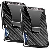 WOWLED 2 Pack Minimalist Men's Wallet, Ultra Slim Carbon Fiber Credit Card Holder RFID Blocking Metal Wallets Money Clip Card
