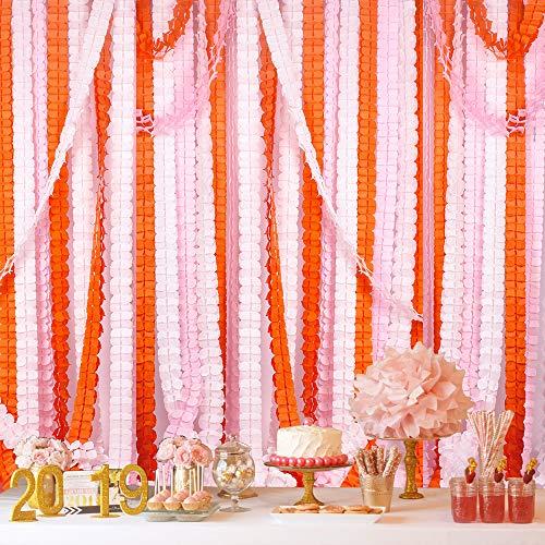 ty Luftschlangen, merrynine Kleeblatt Papier Blume Girlande für Party, Hochzeit Dekoration, 30cm Füße/3,6M, je 6Stück (pink-white-orange) ()