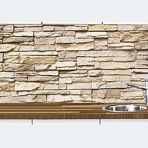 KLINOO Küchenrückwand in Steinoptik als Spritzschutz - Wandschutz - alle Untergründe (verdeckt Fugen) - zuschneidbar/erweiterbar - geruchsneutral - wiederablösbar - 97cm x 68cm (Naturstein beige)