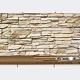 1a PREMIUM Küchennischen Deko-Set für die Küche in Steinoptik - Spritzschutz - Wandschutz - Fliesenspiegel - Wandtatoo - wiederablösbar - Motiv Naturstein beige