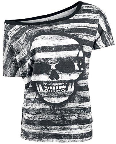 Full Volume by EMP Grunge Stripe Skull Girl-Shirt schwarz Schwarz