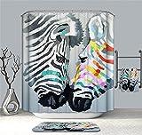 YuLl Minimalistischen Kunst Farbe Zebra Duschvorhang Badezimmer Wasserdicht Anti-schimmel Vorhänge Vorhänge an Den Fenstern mit 12 Haken W180*H 180 cm 100% Polyester Produktion