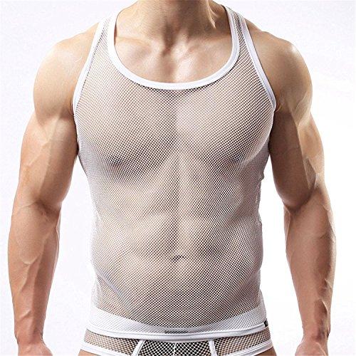 Freebily Herren Netzhemd Männer Tansparent Shirt Unterhemd Wetlook Top Slim Fit Clubwear Underwear aus Mesh Weste in Weiß M