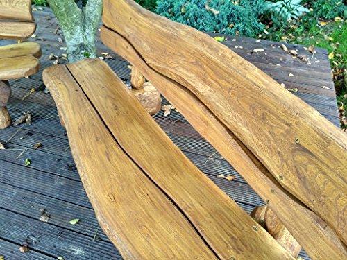 Gartenbank aus Massivholz | Farbe Eiche – Parkbank aus Akazien- und Tannenholz | Perfekt als Geschenk - 3