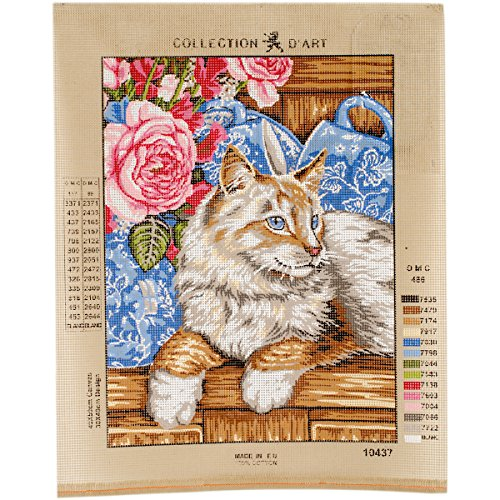 Collection D'Art Chat sur l'étagère Leinwand für Stiekerei mit gedruckten Muster, Gobelin Baumwolle antik 40 x 50 x 0,1 cm