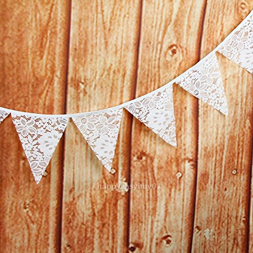 Tradico® 12 Flags White Tropical Flowers Flag Pennant Wedding Birthday Party Decor H1