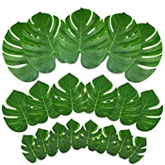 Idea Regalo - Kuuqa 48 Pz Tropical Party Decor Pianta Artificiale Palma Tropicale Monstera Foglie Simulazione Foglia per Hawaiian Luau Safari Party Jungle Beach Tema BBQ Compleanno Decorazioni Festa Forniture 3 Taglie
