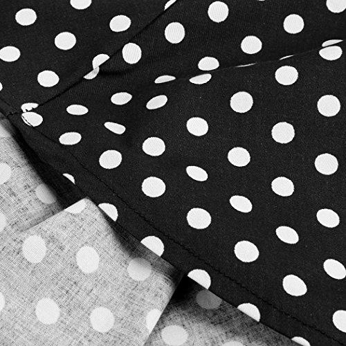 CRAVOG Mode Sexy Robe de Soirée Vintage 50's Femme Pin Up / Robe De Cocktail Rétro Jupe Plissé Robe Années 50 Maxi Noir