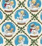 Fat Quarter Weihnachten Cherubs Engel und Schneemänner